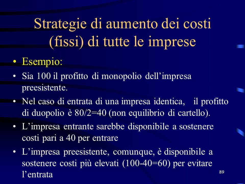 89 Strategie di aumento dei costi (fissi) di tutte le imprese Esempio: Sia 100 il profitto di monopolio dell'impresa preesistente. Nel caso di entrata