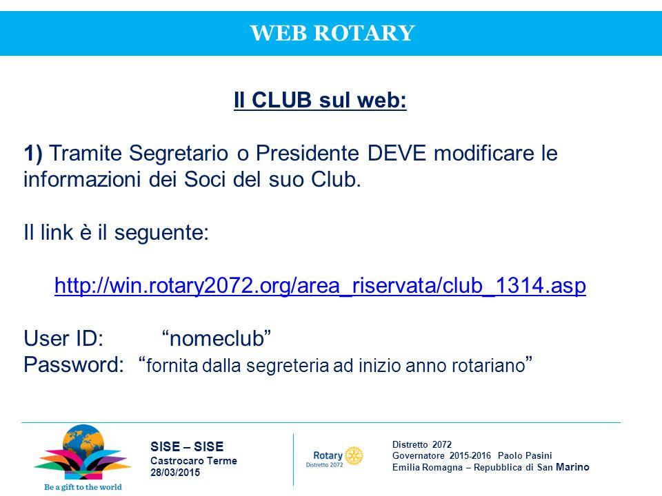 Distretto 2072 Governatore 2015-2016 Paolo Pasini Emilia Romagna – Repubblica di San Marino SISE – SISE Castrocaro Terme 28/03/2015 WEB ROTARY