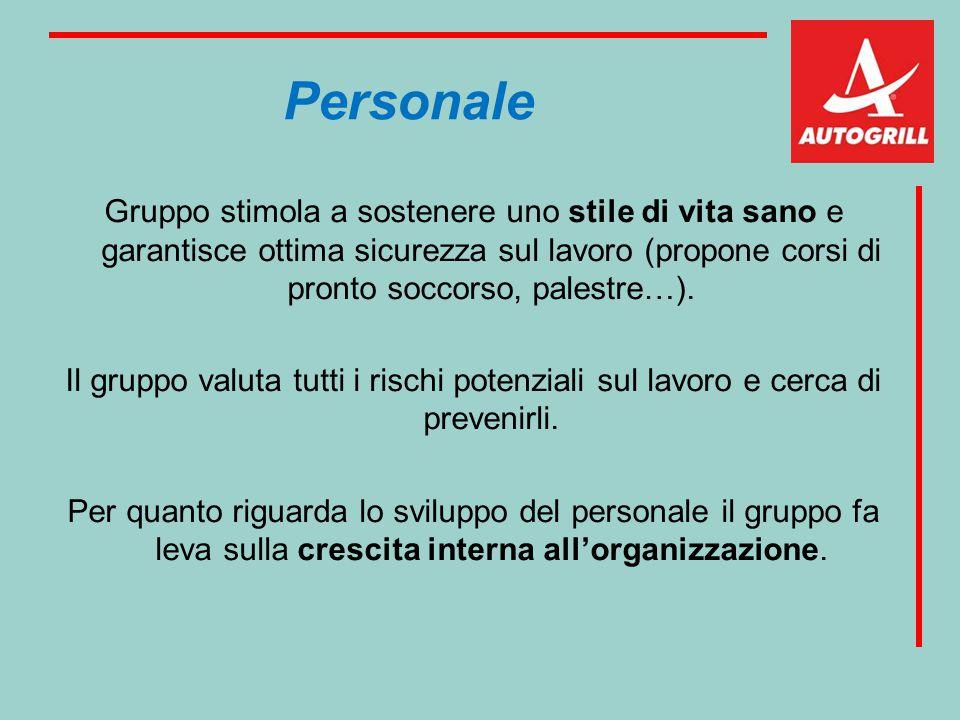 Personale Gruppo stimola a sostenere uno stile di vita sano e garantisce ottima sicurezza sul lavoro (propone corsi di pronto soccorso, palestre…). Il