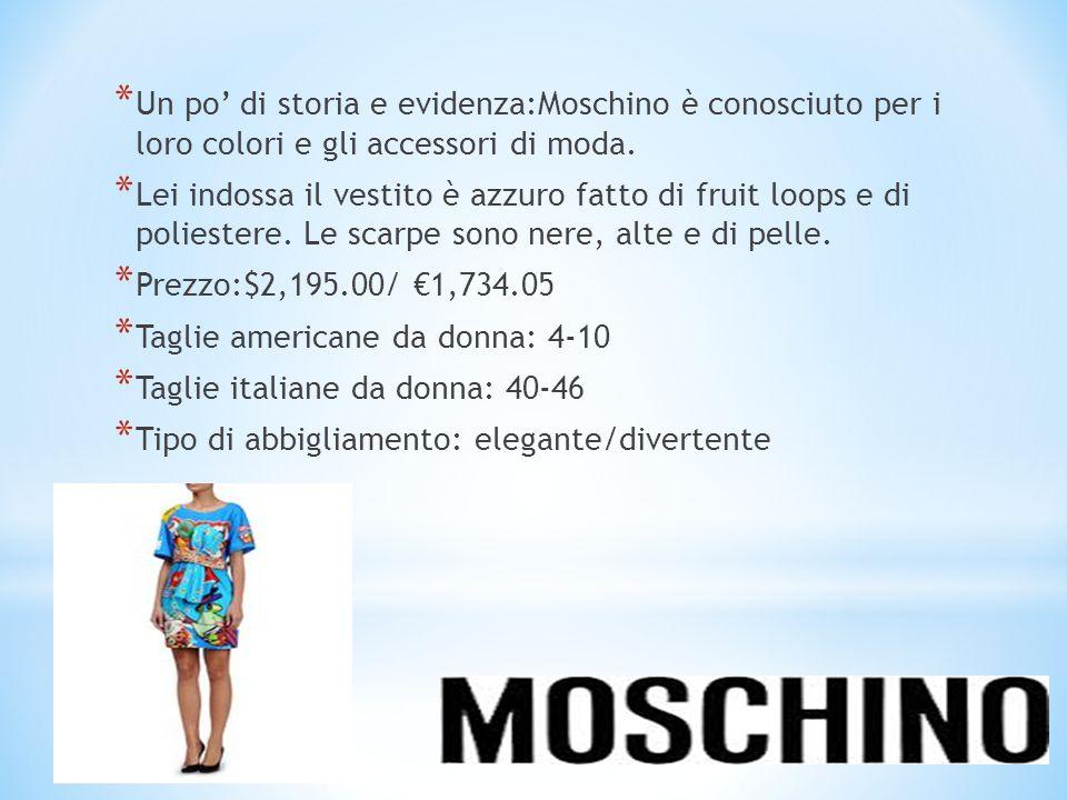 *U*U n po' di storia e evidenza:Moschino è conosciuto per i loro colori e gli accessori di moda. *L*L ei indossa il vestito è azzuro fatto di fruit lo