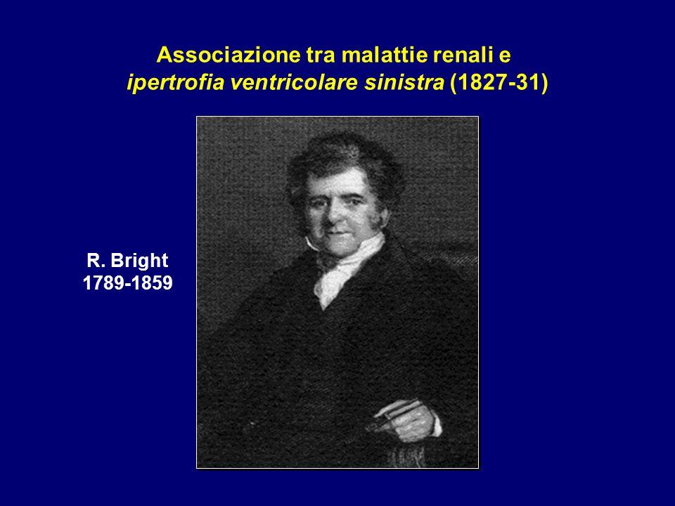 R. Bright 1789-1859 Associazione tra malattie renali e ipertrofia ventricolare sinistra (1827-31)