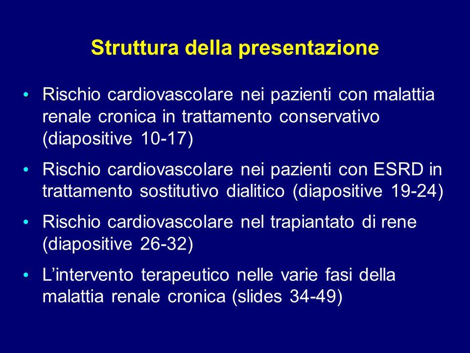 R Rischio cardiovascolare nei pazienti con malattia renale cronica in trattamento conservativo (diapositive 10-17) Rischio cardiovascolare nei pazient