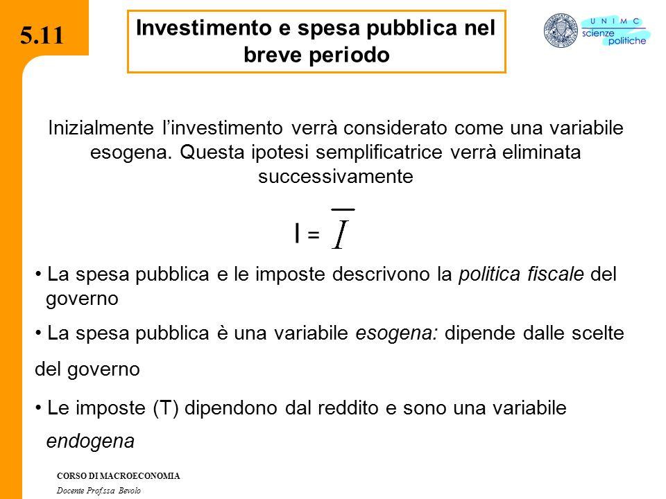 4.2.2 CORSO DI MACROECONOMIA Docente Prof.ssa Bevolo 5.11 Investimento e spesa pubblica nel breve periodo Inizialmente l'investimento verrà considerat