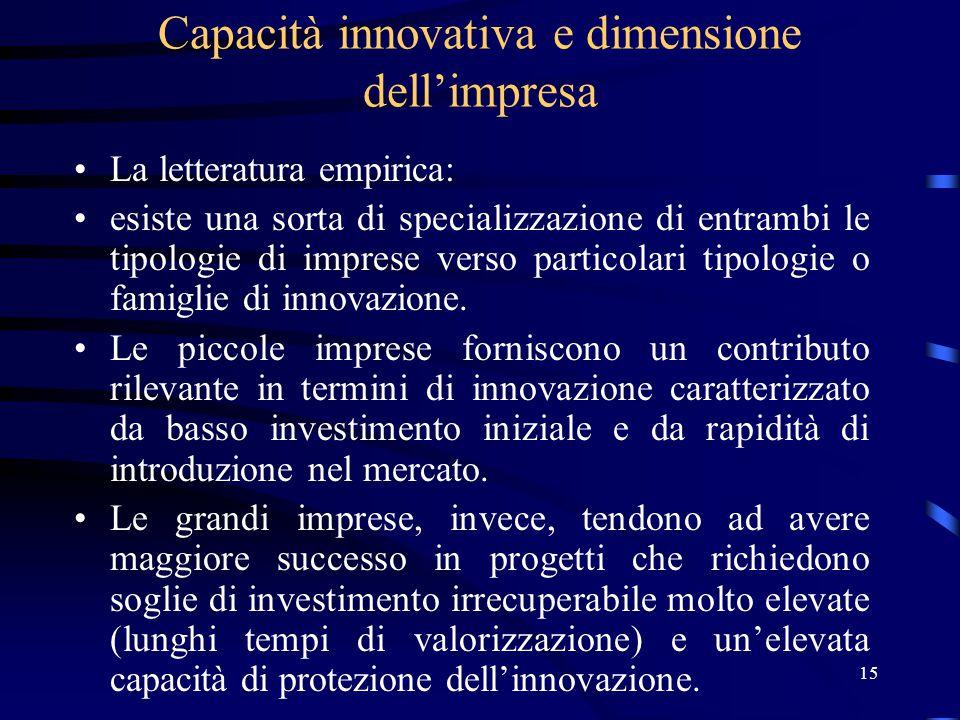 15 Capacità innovativa e dimensione dell'impresa La letteratura empirica: esiste una sorta di specializzazione di entrambi le tipologie di imprese verso particolari tipologie o famiglie di innovazione.