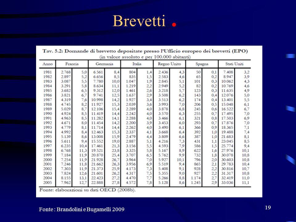 19 Brevetti. Fonte : Brandolini e Bugamelli 2009