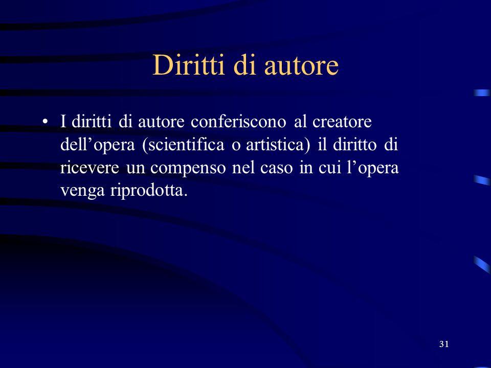 31 Diritti di autore I diritti di autore conferiscono al creatore dell'opera (scientifica o artistica) il diritto di ricevere un compenso nel caso in cui l'opera venga riprodotta.