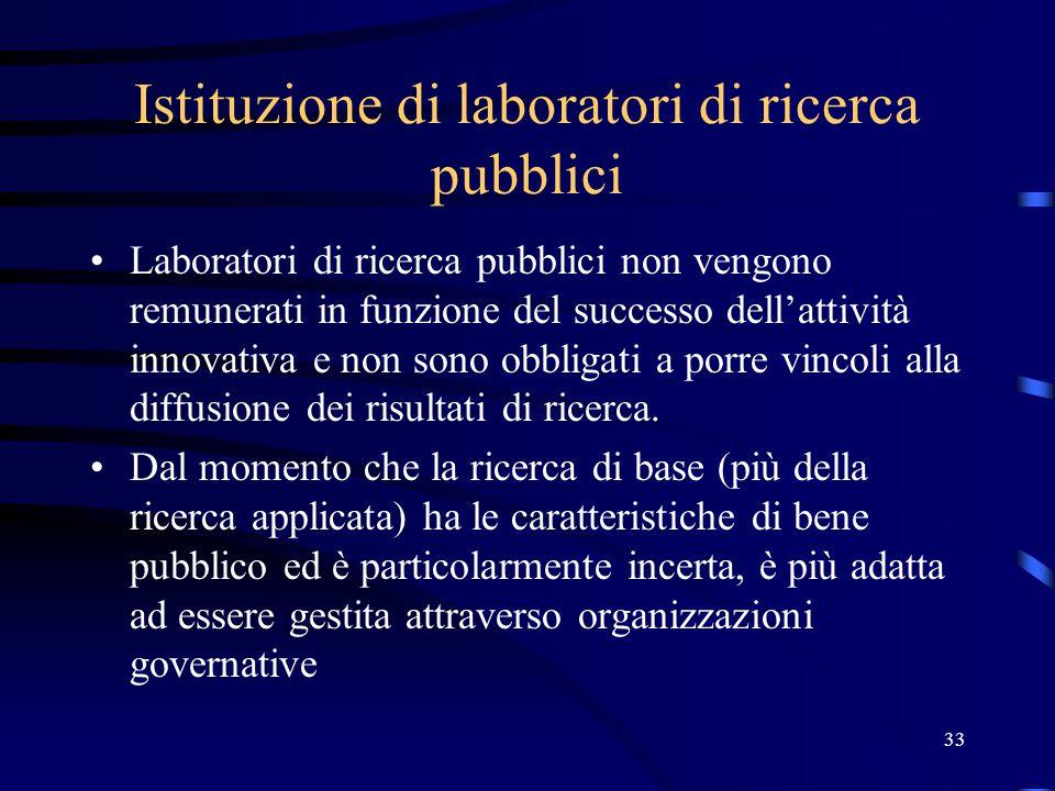 33 Istituzione di laboratori di ricerca pubblici Laboratori di ricerca pubblici non vengono remunerati in funzione del successo dell'attività innovativa e non sono obbligati a porre vincoli alla diffusione dei risultati di ricerca.
