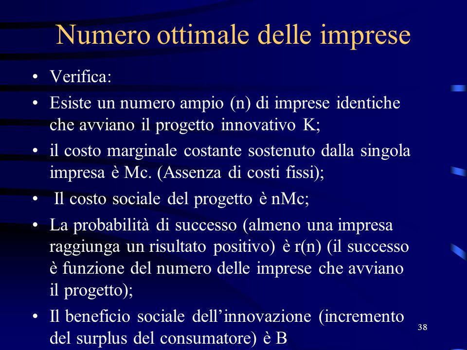 38 Numero ottimale delle imprese Verifica: Esiste un numero ampio (n) di imprese identiche che avviano il progetto innovativo K; il costo marginale costante sostenuto dalla singola impresa è Mc.
