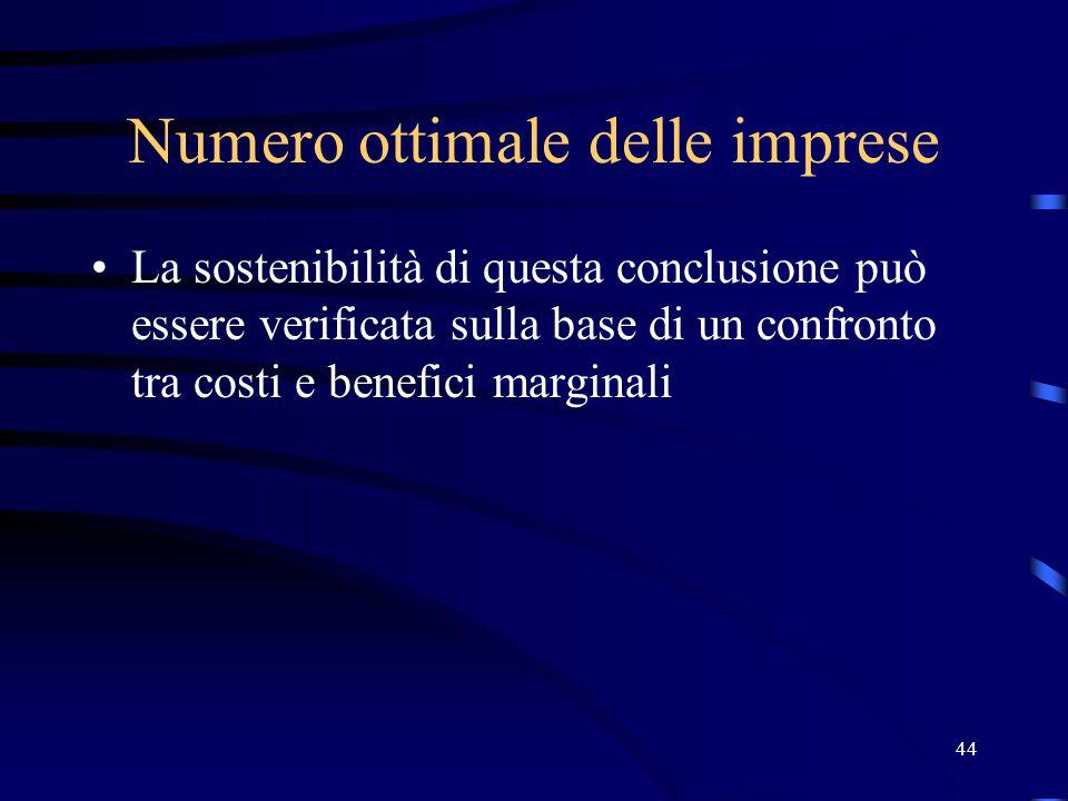 44 Numero ottimale delle imprese La sostenibilità di questa conclusione può essere verificata sulla base di un confronto tra costi e benefici marginali