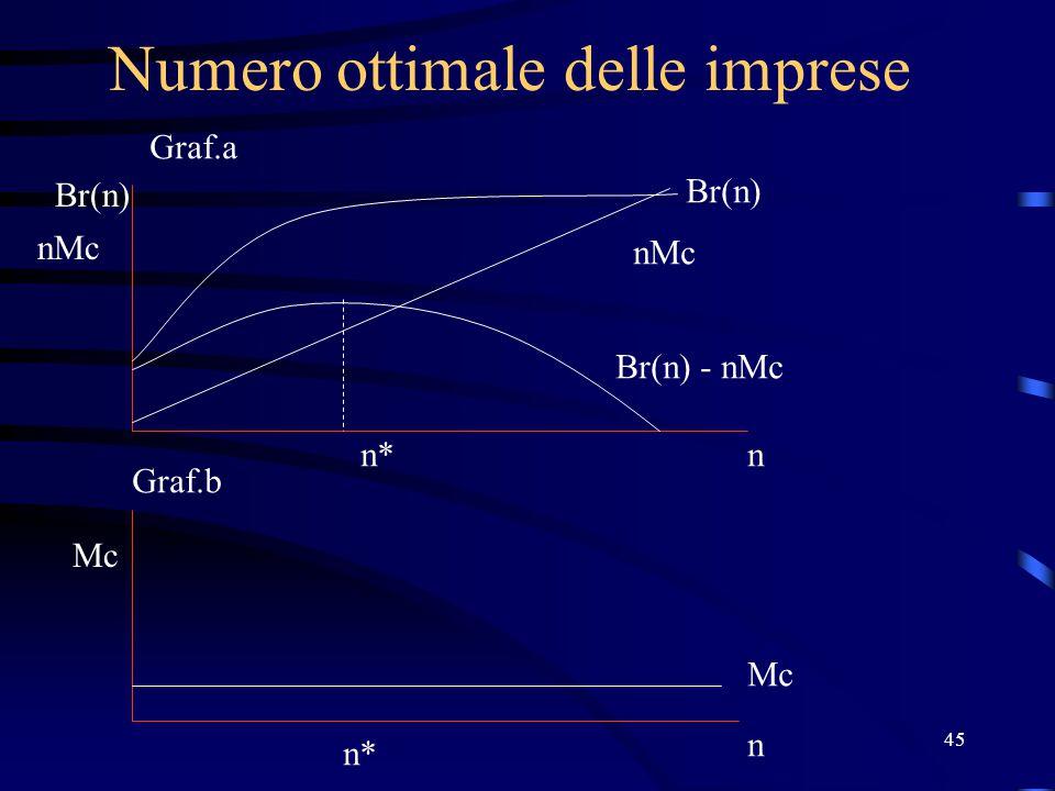45 Numero ottimale delle imprese Br(n) nMc n Mc n Br(n) nMc Br(n) - nMc n* Graf.a Graf.b