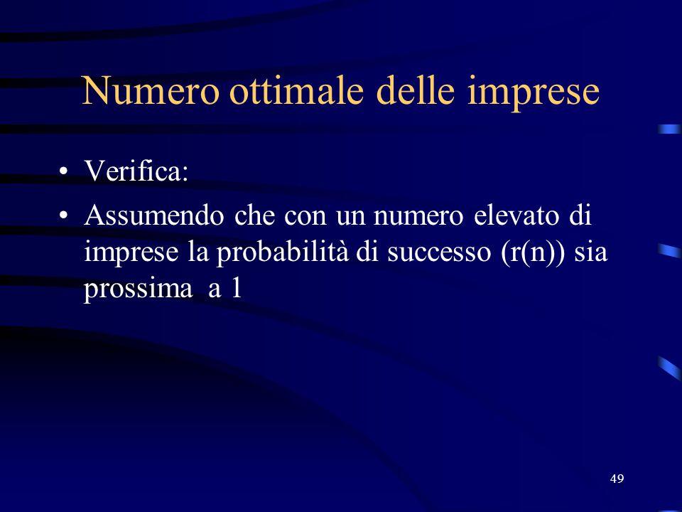 49 Numero ottimale delle imprese Verifica: Assumendo che con un numero elevato di imprese la probabilità di successo (r(n)) sia prossima a 1