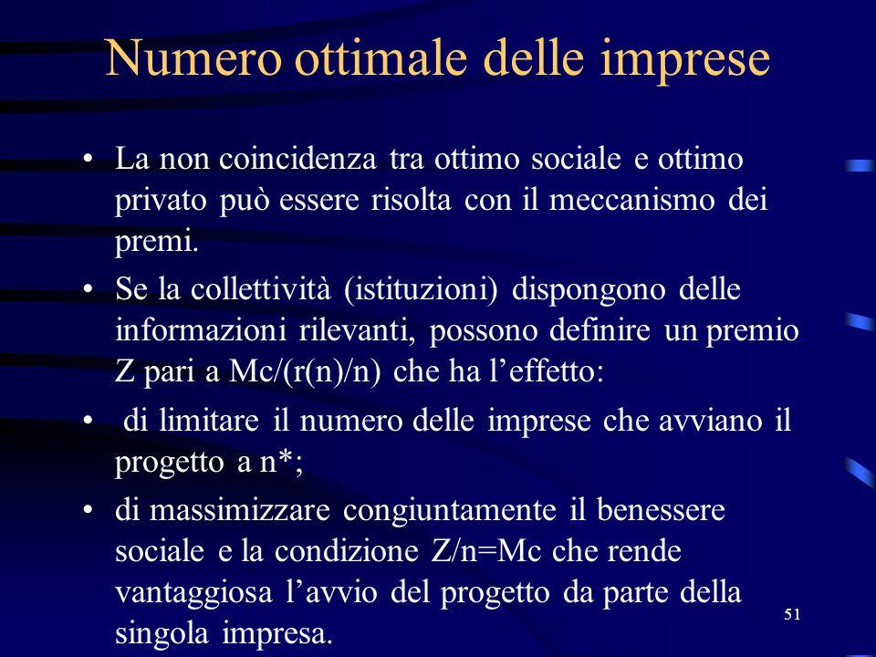 51 Numero ottimale delle imprese La non coincidenza tra ottimo sociale e ottimo privato può essere risolta con il meccanismo dei premi.