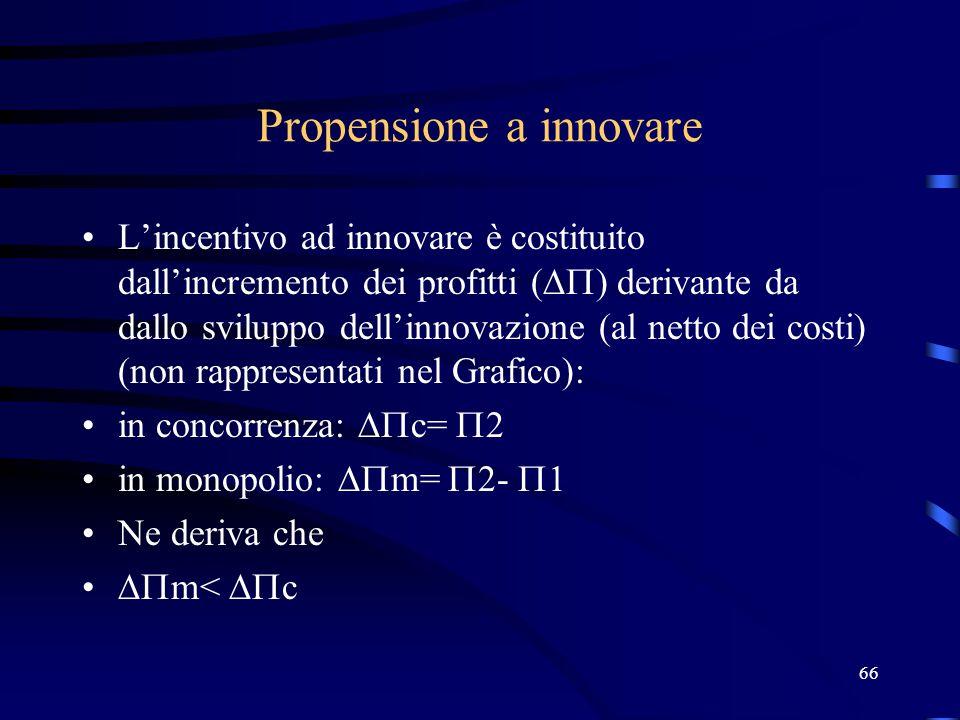 66 Propensione a innovare L'incentivo ad innovare è costituito dall'incremento dei profitti (  ) derivante da dallo sviluppo dell'innovazione (al netto dei costi) (non rappresentati nel Grafico): in concorrenza:  c=  2 in monopolio:  m=  2-  1 Ne deriva che  m<  c