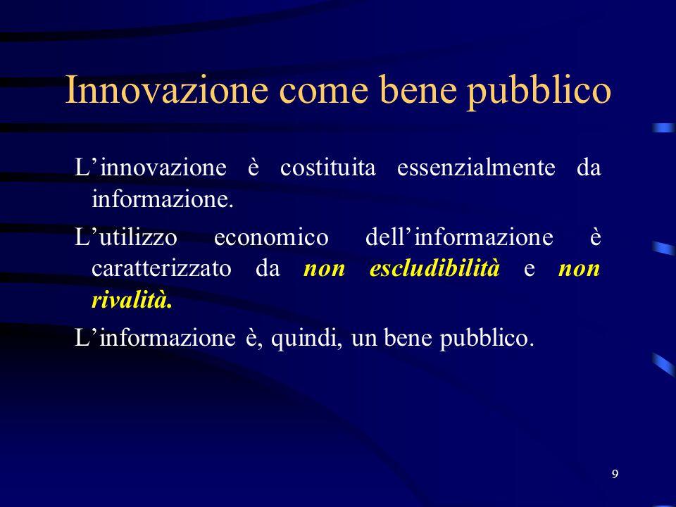 30 Brevetti I brevetti aumentano la divulgazione dell'innovazione La ragione economica del brevetto non è la la protezione assoluta dell'innovazione, ma l'incremento dei costi di imitazione L'importanza dell'istituto del brevetto è diversa da industria e industria