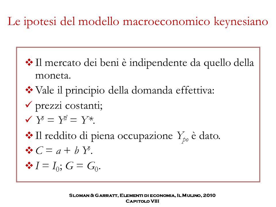Le ipotesi del modello macroeconomico keynesiano  Il mercato dei beni è indipendente da quello della moneta.  Vale il principio della domanda effett