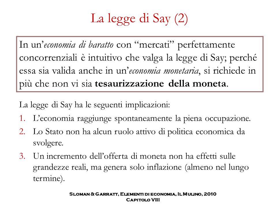 """La legge di Say (2) In un'economia di baratto con """"mercati"""" perfettamente concorrenziali è intuitivo che valga la legge di Say; perché essa sia valida"""