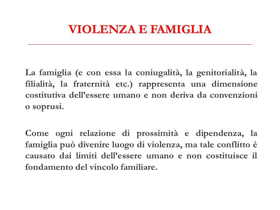 VIOLENZA E FAMIGLIA La famiglia (e con essa la coniugalità, la genitorialità, la filialità, la fraternità etc.) rappresenta una dimensione costitutiva