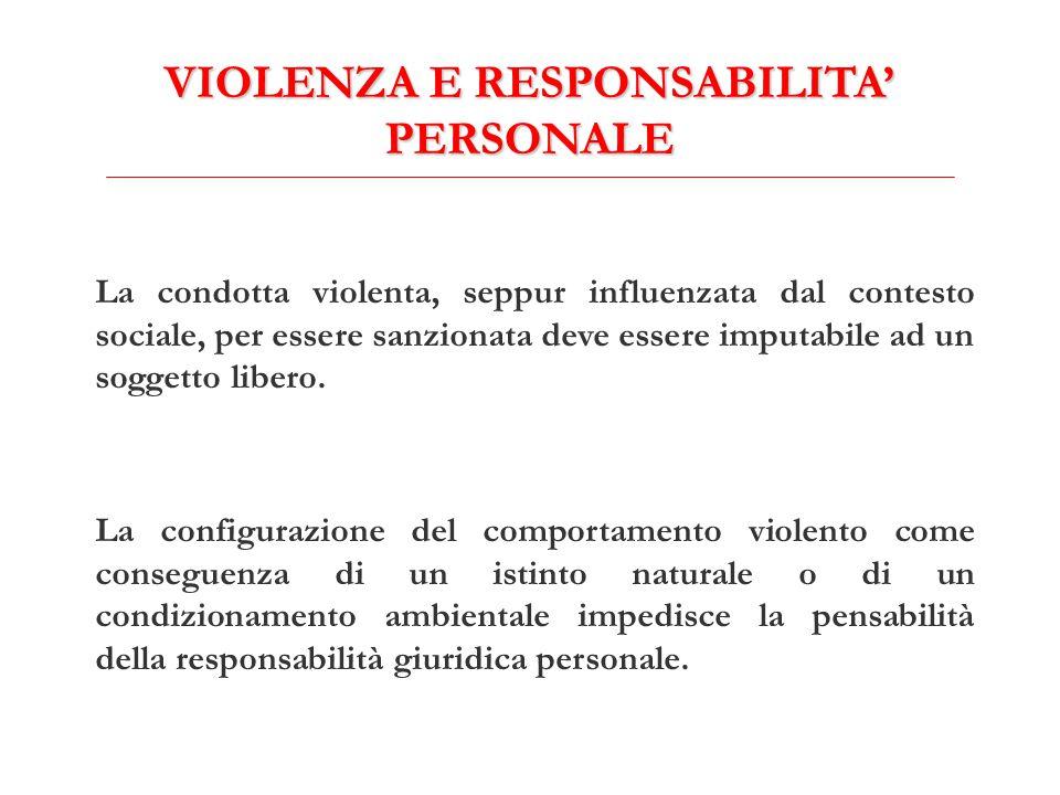 VIOLENZA E RESPONSABILITA' PERSONALE La condotta violenta, seppur influenzata dal contesto sociale, per essere sanzionata deve essere imputabile ad un soggetto libero.