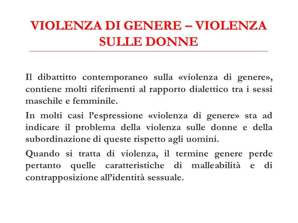 VIOLENZA DI GENERE – VIOLENZA SULLE DONNE Il dibattitto contemporaneo sulla «violenza di genere», contiene molti riferimenti al rapporto dialettico tr