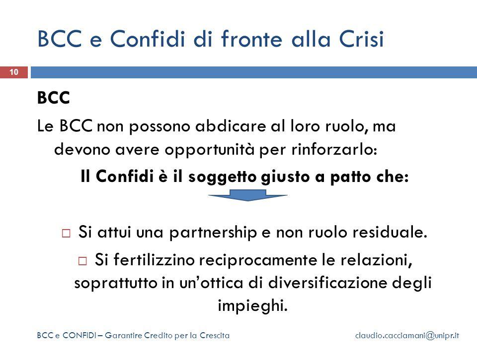 BCC e Confidi di fronte alla Crisi 10 BCC Le BCC non possono abdicare al loro ruolo, ma devono avere opportunità per rinforzarlo: Il Confidi è il soggetto giusto a patto che:  Si attui una partnership e non ruolo residuale.
