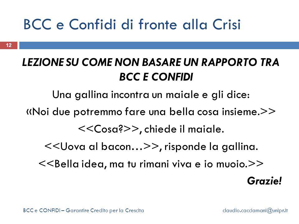 BCC e Confidi di fronte alla Crisi 12 LEZIONE SU COME NON BASARE UN RAPPORTO TRA BCC E CONFIDI Una gallina incontra un maiale e gli dice: «Noi due potremmo fare una bella cosa insieme.>> >, chiede il maiale.