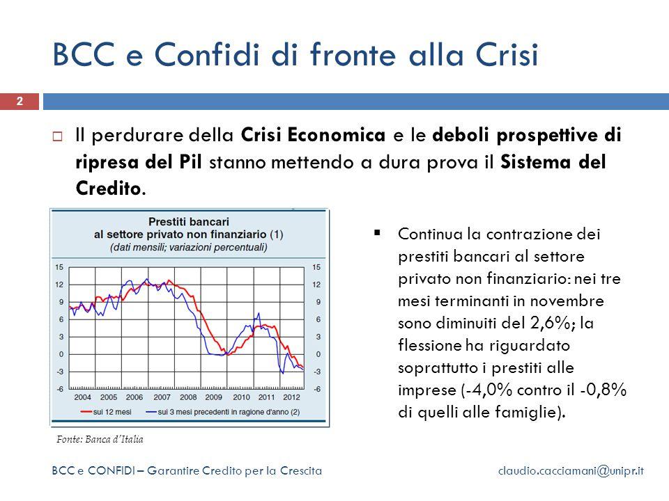 BCC e Confidi di fronte alla Crisi 2  Il perdurare della Crisi Economica e le deboli prospettive di ripresa del Pil stanno mettendo a dura prova il Sistema del Credito.