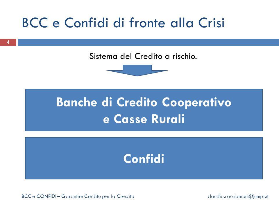 BCC e Confidi di fronte alla Crisi 4 BCC e CONFIDI – Garantire Credito per la Crescita claudio.cacciamani@unipr.it Sistema del Credito a rischio.