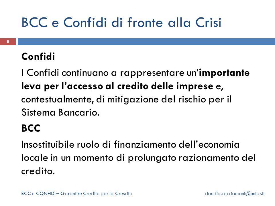 BCC e Confidi di fronte alla Crisi 6 Confidi I Confidi continuano a rappresentare un'importante leva per l'accesso al credito delle imprese e, contestualmente, di mitigazione del rischio per il Sistema Bancario.