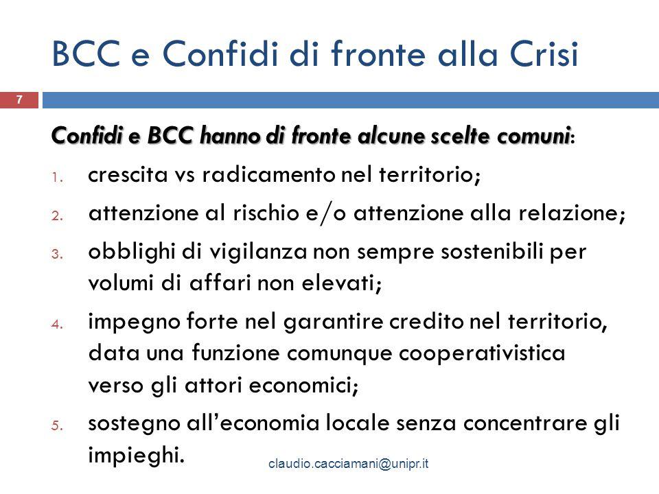BCC e Confidi di fronte alla Crisi Confidi e BCC hanno di fronte alcune scelte comuni Confidi e BCC hanno di fronte alcune scelte comuni: 1.
