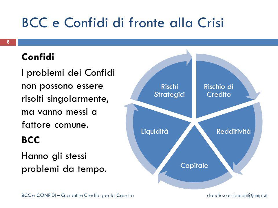 BCC e Confidi di fronte alla Crisi 8 Confidi I problemi dei Confidi non possono essere risolti singolarmente, ma vanno messi a fattore comune.