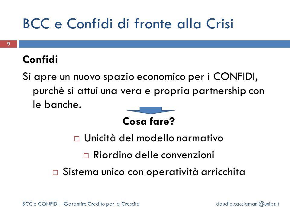 BCC e Confidi di fronte alla Crisi 9 Confidi Si apre un nuovo spazio economico per i CONFIDI, purchè si attui una vera e propria partnership con le banche.