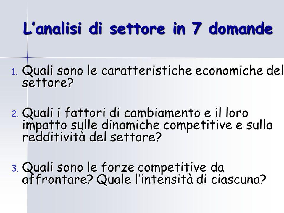 1. Quali sono le caratteristiche economiche del settore? 2. Quali i fattori di cambiamento e il loro impatto sulle dinamiche competitive e sulla reddi