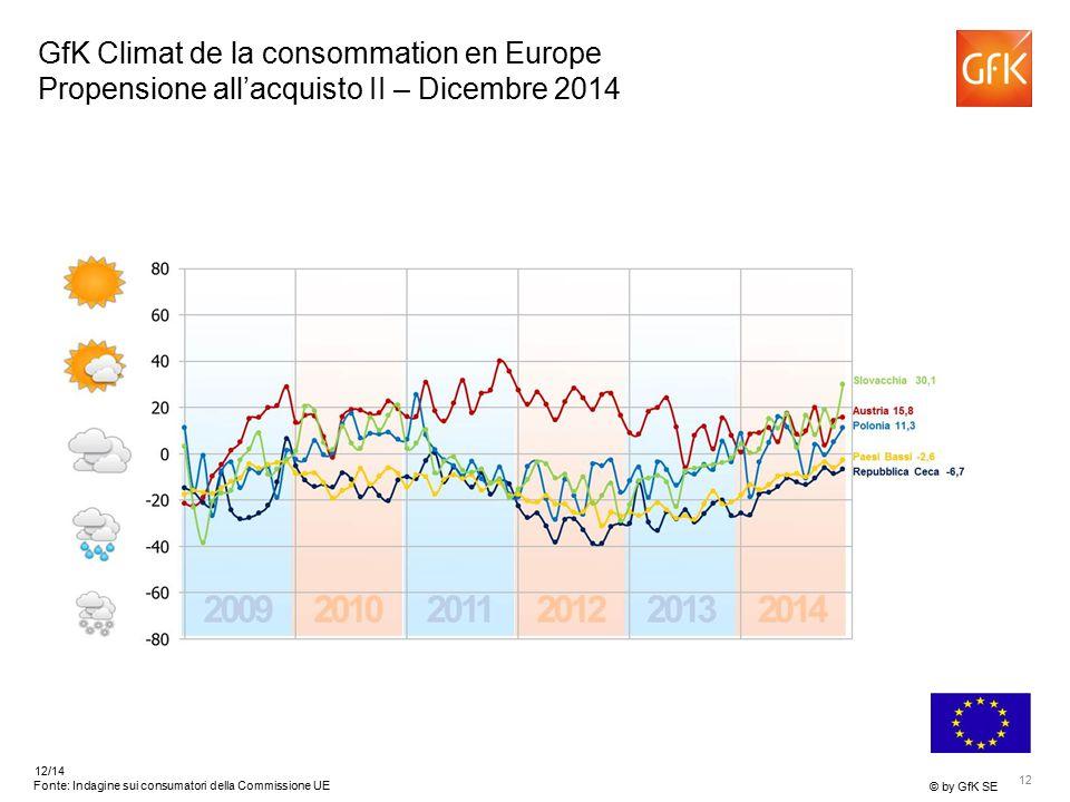 12 © by GfK SE 12/14 Fonte: Indagine sui consumatori della Commissione UE GfK Climat de la consommation en Europe Propensione all'acquisto II – Dicembre 2014