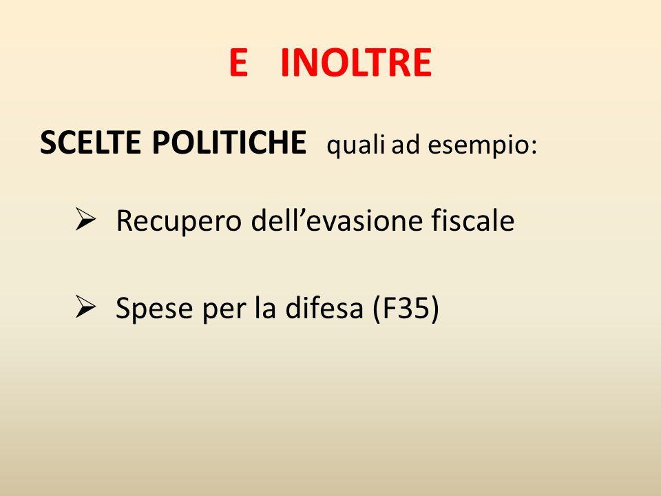 E INOLTRE SCELTE POLITICHE quali ad esempio:  Recupero dell'evasione fiscale  Spese per la difesa (F35)