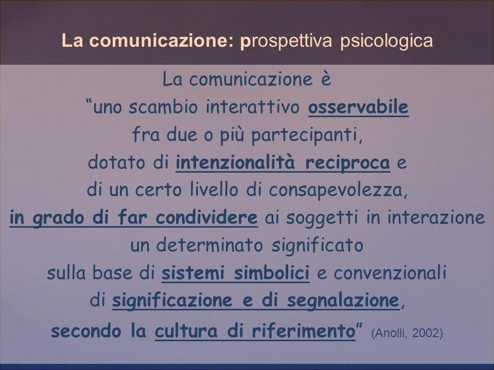 """La comunicazione è """"uno scambio interattivo osservabile fra due o più partecipanti, dotato di intenzionalità reciproca e di un certo livello di consap"""
