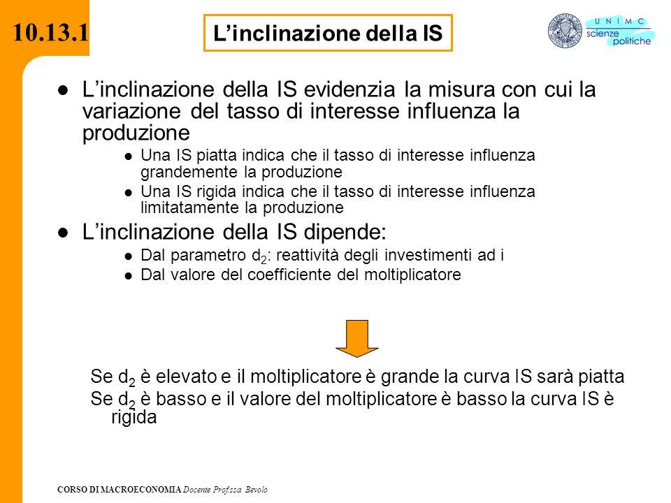 CORSO DI MACROECONOMIA Docente Prof.ssa Bevolo 10.13.1 L'inclinazione della IS evidenzia la misura con cui la variazione del tasso di interesse influe