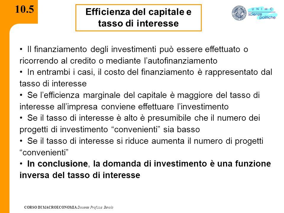 CORSO DI MACROECONOMIA Docente Prof.ssa Bevolo 10.6 La funzione dell'investimento: rappresentazione grafica i I I I' Aumenti delle vendite o aspettative favorevoli (aumenti di d 1 ) spostano la funzione dell'investimento verso destra I = I 0 + d 1 Y - d 2 I I 0 = investimenti autonomi; d 1 = reattività degli investimenti rispetto al reddito; d 2 = coefficiente di reattività di I rispetto all'interesse Dal coefficiente d 2 dipende l'inclinazione della curva degli I