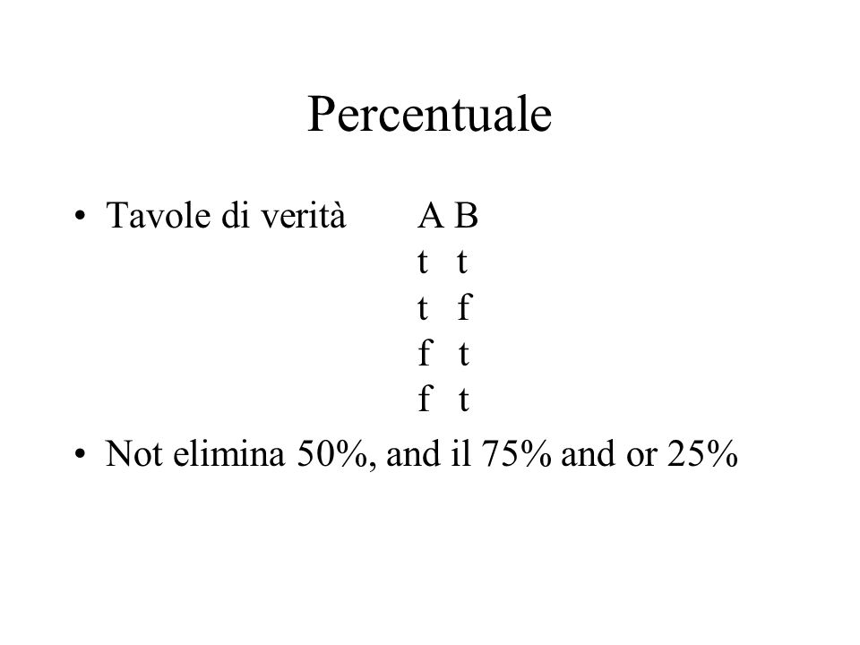 Percentuale Tavole di verità A B t t t f f t f t Not elimina 50%, and il 75% and or 25%