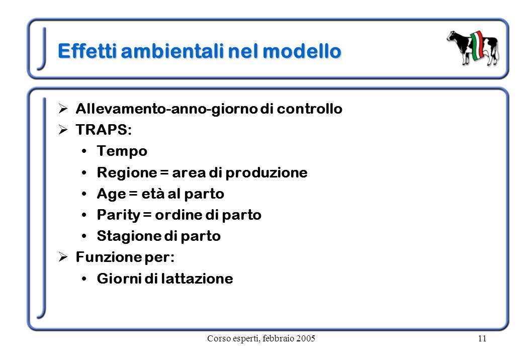 Corso esperti, febbraio 200511 Effetti ambientali nel modello  Allevamento-anno-giorno di controllo  TRAPS: Tempo Regione = area di produzione Age =