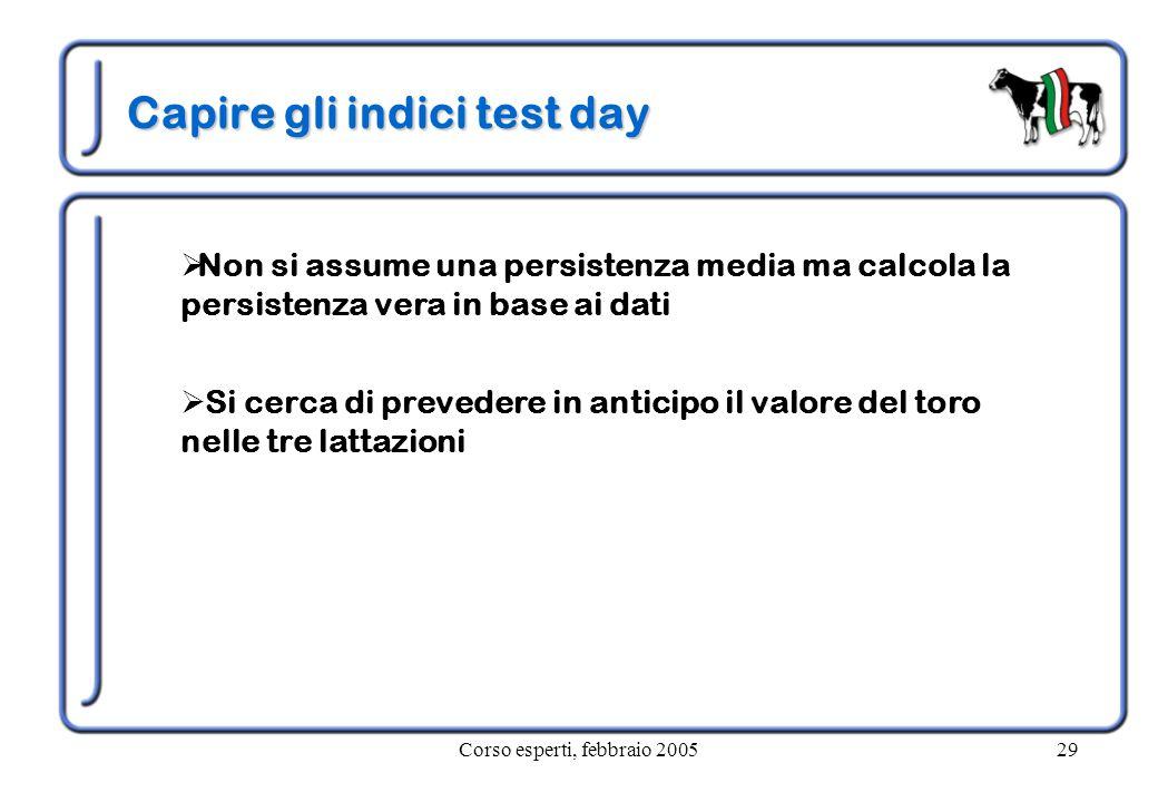 Corso esperti, febbraio 200529 Capire gli indici test day  Non si assume una persistenza media ma calcola la persistenza vera in base ai dati  Si ce