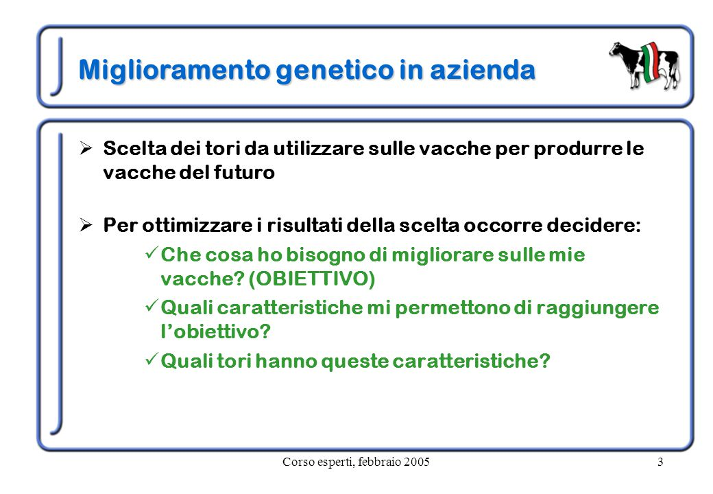 Corso esperti, febbraio 20053 Miglioramento genetico in azienda  Scelta dei tori da utilizzare sulle vacche per produrre le vacche del futuro  Per ottimizzare i risultati della scelta occorre decidere: Che cosa ho bisogno di migliorare sulle mie vacche.