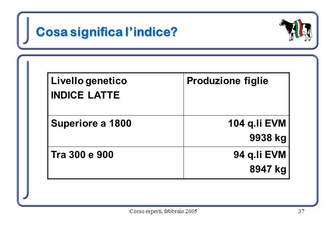 Corso esperti, febbraio 200537 Cosa significa l'indice? Livello genetico INDICE LATTE Produzione figlie Superiore a 1800104 q.li EVM 9938 kg Tra 300 e
