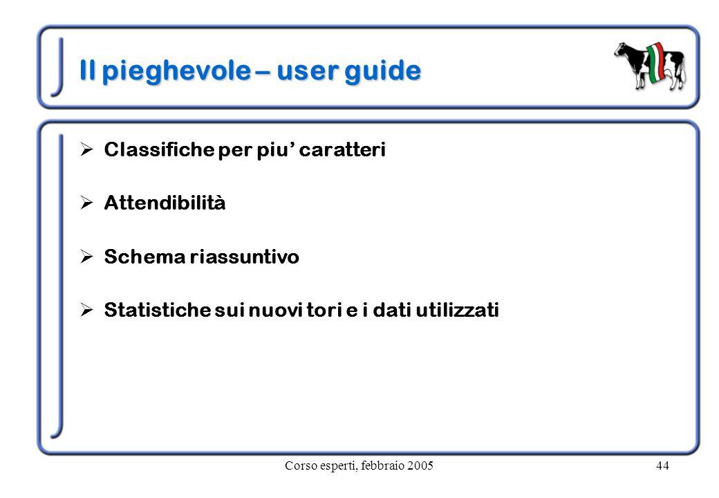Corso esperti, febbraio 200544 Il pieghevole – user guide  Classifiche per piu' caratteri  Attendibilità  Schema riassuntivo  Statistiche sui nuovi tori e i dati utilizzati