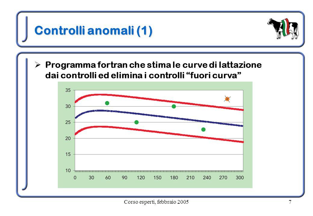 Corso esperti, febbraio 20057 Controlli anomali (1)  Programma fortran che stima le curve di lattazione dai controlli ed elimina i controlli fuori curva
