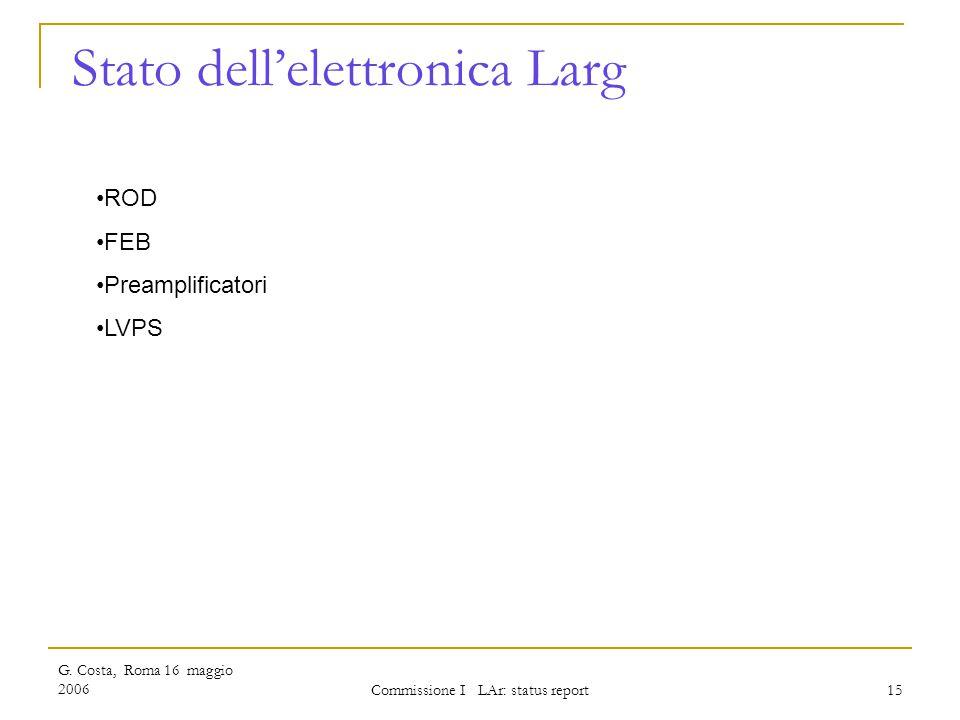 G. Costa, Roma 16 maggio 2006 Commissione I LAr: status report 15 Stato dell'elettronica Larg ROD FEB Preamplificatori LVPS