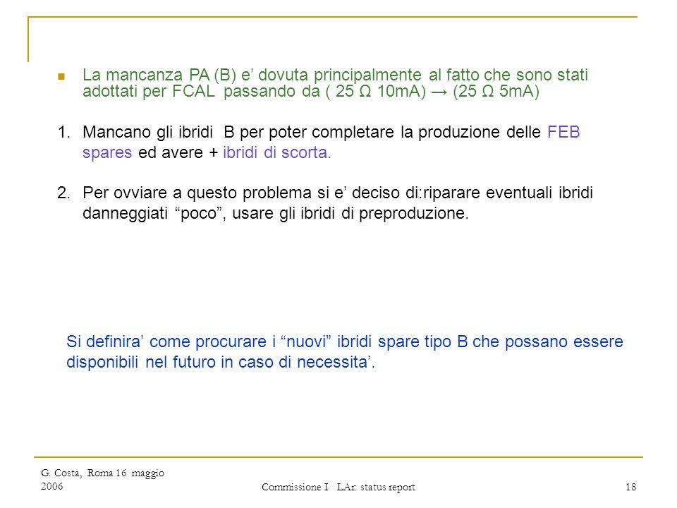 G. Costa, Roma 16 maggio 2006 Commissione I LAr: status report 18 La mancanza PA (B) e' dovuta principalmente al fatto che sono stati adottati per FCA