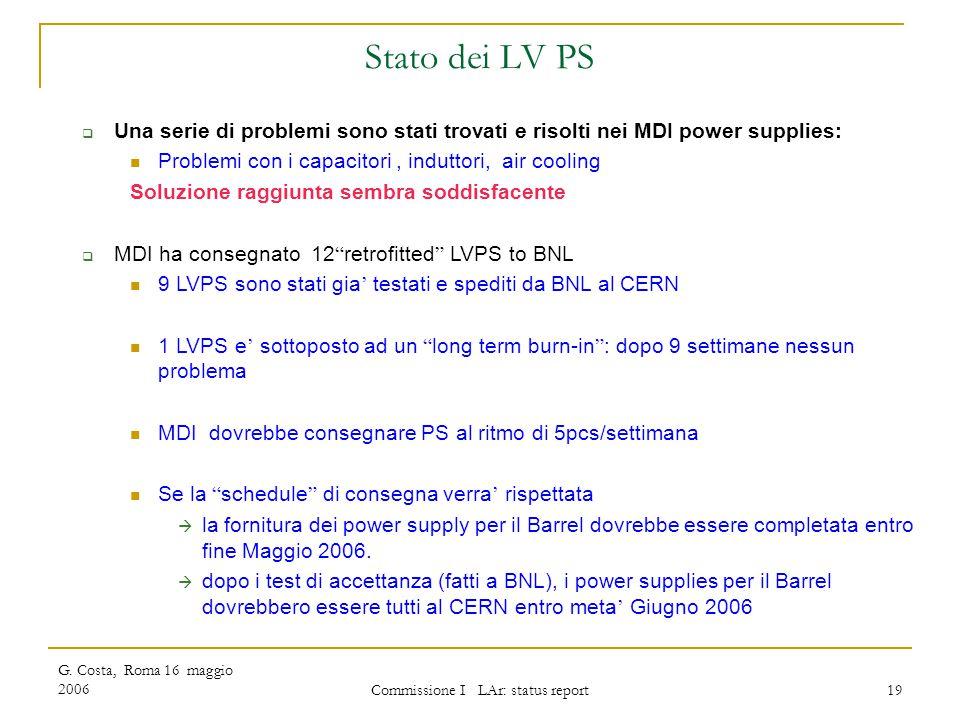 G. Costa, Roma 16 maggio 2006 Commissione I LAr: status report 19 Stato dei LV PS  Una serie di problemi sono stati trovati e risolti nei MDI power s
