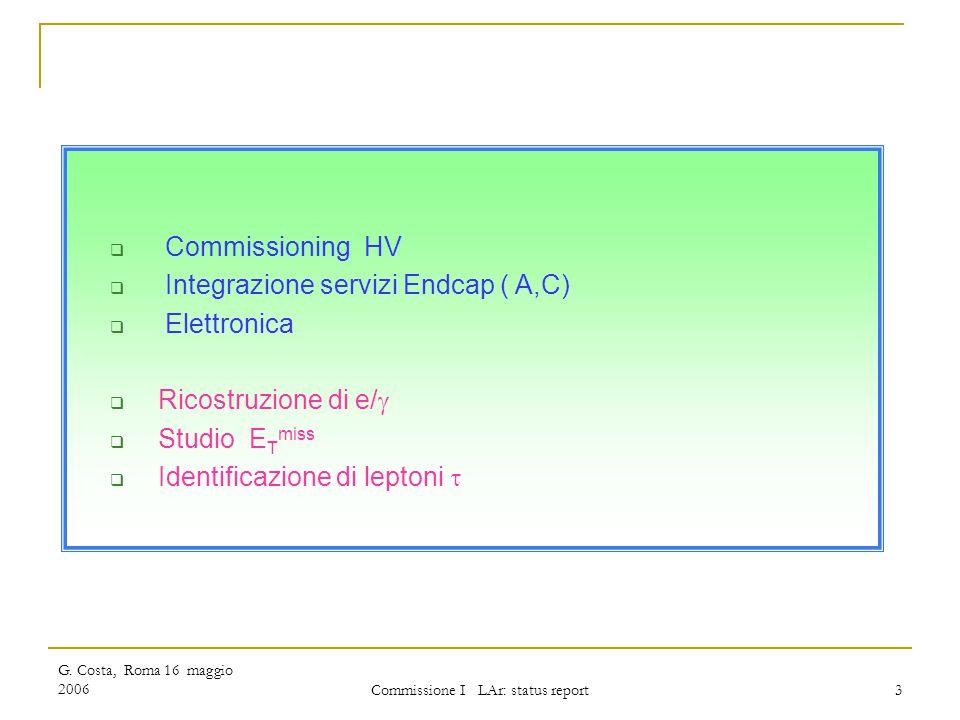 G. Costa, Roma 16 maggio 2006 Commissione I LAr: status report 3  Commissioning HV  Integrazione servizi Endcap ( A,C)  Elettronica  Ricostruzione