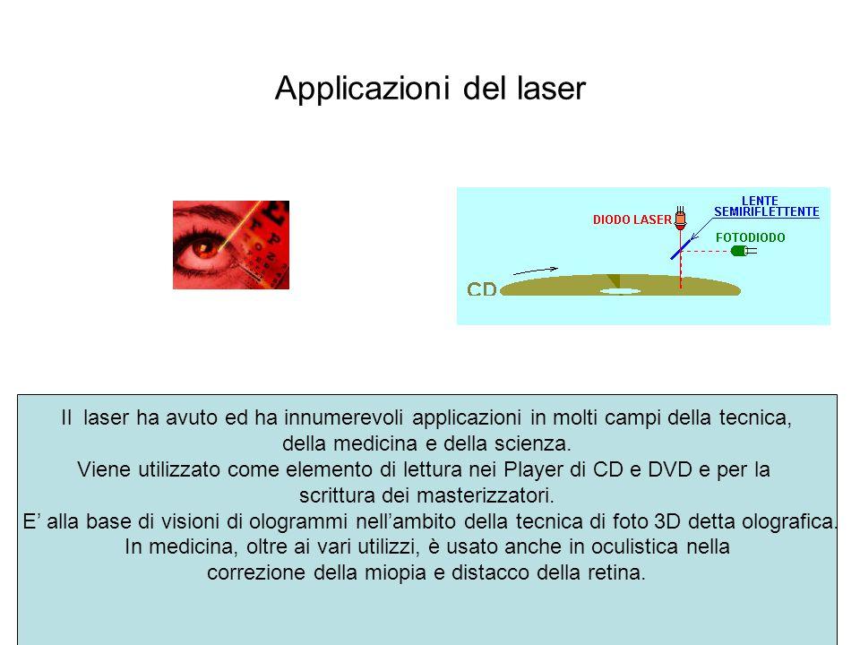 Applicazioni del laser Il laser ha avuto ed ha innumerevoli applicazioni in molti campi della tecnica, della medicina e della scienza. Viene utilizzat