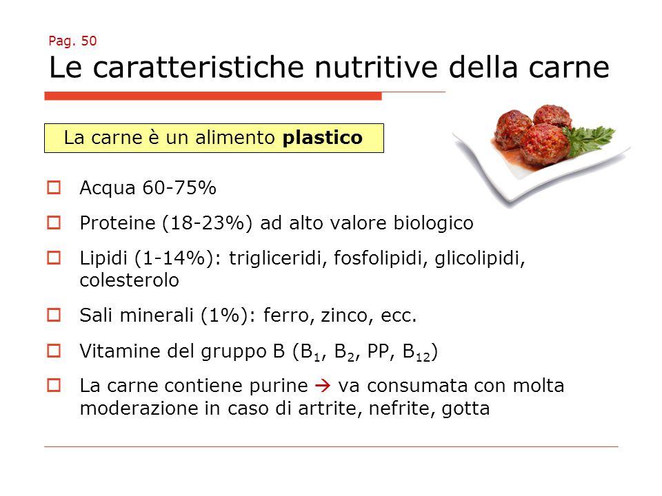 Pag. 50 Le caratteristiche nutritive della carne  Acqua 60-75%  Proteine (18-23%) ad alto valore biologico  Lipidi (1-14%): trigliceridi, fosfolipi